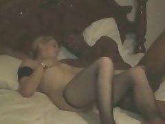 Amateur Cuckold Interracial Stockings Threesome