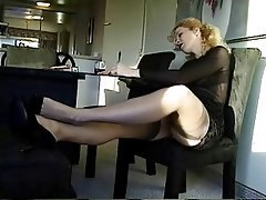Blonde Foot Fetish Secretary Softcore Stockings